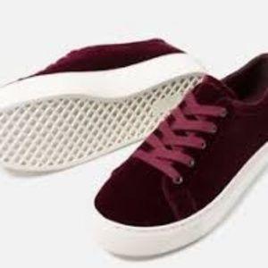 Zara red velvet sneakers 38
